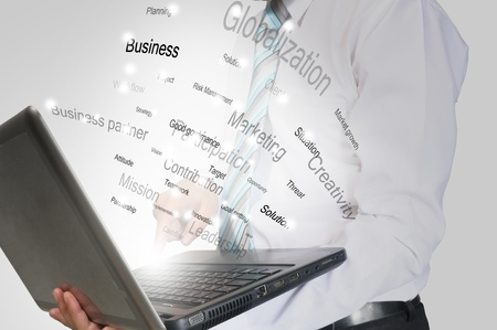 Business Man present laptop computer