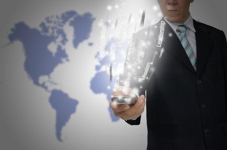 Business Man hold smartphone send the business data Zdjęcie Seryjne