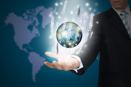 Hand of Business Man Hold Earth Globe surround by Business word photo