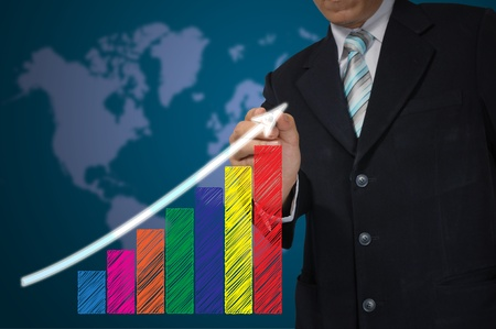 Hand of Business Man write growth graph photo