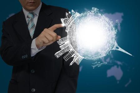 Hand of Business Man Touch Earth Globe Zdjęcie Seryjne - 13423218