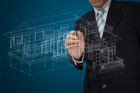 house in hand: Hand of Business Man Draw 3D architect or home plan Stock Photo