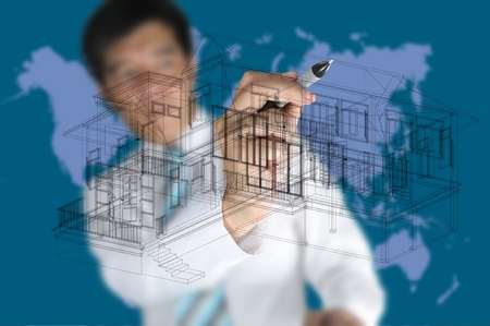 Hand of Business Man Draw 3D architect or home plan photo