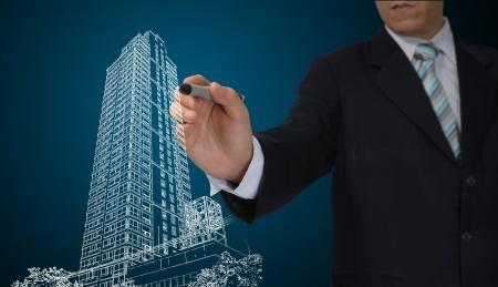 Business Man or Architect draw cityscape Zdjęcie Seryjne - 14198379