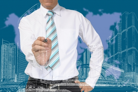 Business Man or Architect draw cityscape Stock Photo - 14346018