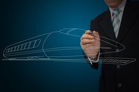 Business Man or Architect draw speedtrain photo