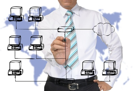 Business Man or Architect draw computer network photo