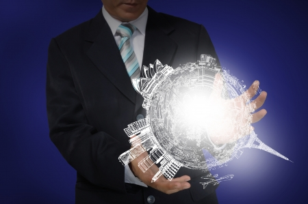 protection plan: Business Man holding drawing earth globe