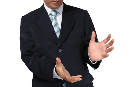 Hand of business Man holding against white background photo