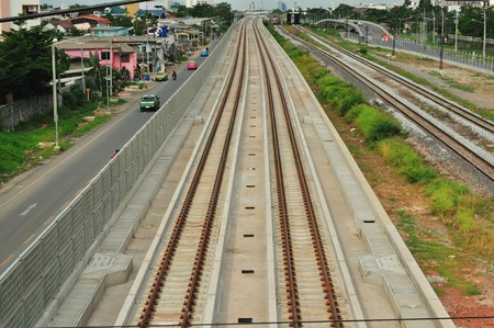 Railway under the blue sky in Bangkok photo