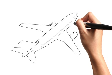 air shipping: Male Hand drawing airplane