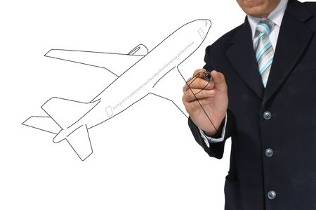 air shipping: Business Male Hand drawing airplane