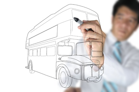 Business Man drawing London bus photo