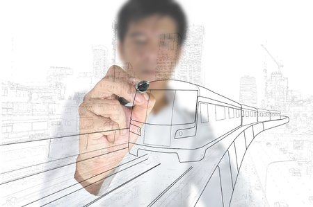 architect drawing: Business Man or architect drawing train or transportation