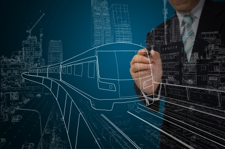 Business Man or architect drawing train or transportation. Stock Photo