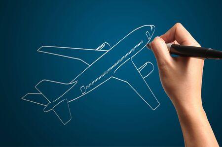 jetplane: Male Hand drawing airplane