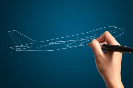 jetplane: Male Hand drawing airplane Stock Photo