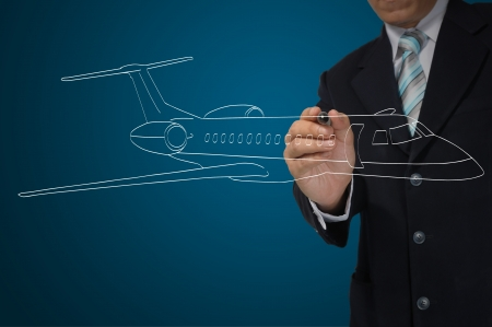 jet airplane: Business Male Hand drawing airplane