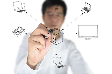 computer engineer: Business Male Hand drawing computer network system Stock Photo