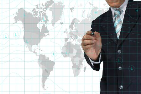 business Man drawing weather map. Elements of this image furnished by NASA photo