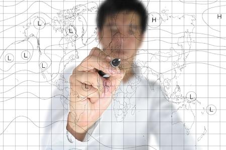 business Man drawing weather map.  Zdjęcie Seryjne