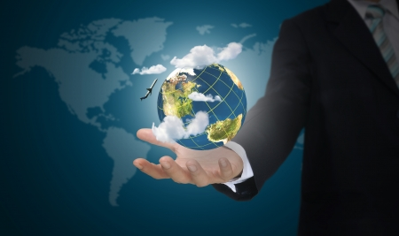 Hand of business man holding earth globe  Elements of this image furnished by NASA Stock Photo - 15300952