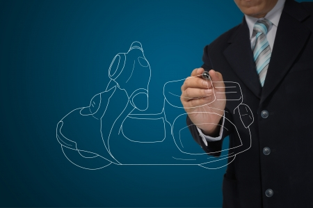 Business Man drawing scooter or motorcycle Stock Photo - 15300953