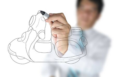 Business Man drawing scooter or motorcycle Stock Photo - 15300950