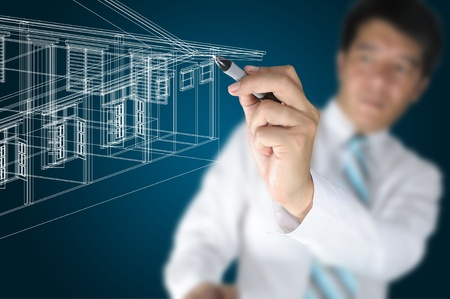 Hand of Business Man or Architect Draw 3D architectural home plan photo