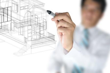 비즈니스 사람 (남자) 또는 건축가의 손 3D 건축 주택 계획을 그리기