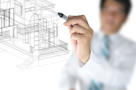 Hand of Business Mann oder Architect Zeichnen 3D-Architektur-Haus-Plan photo