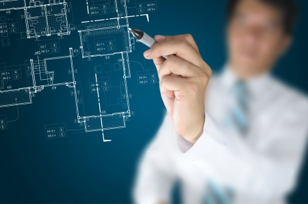 Hand of Business Man or Architect Draw architectural home plan Stock Photo - 15446361