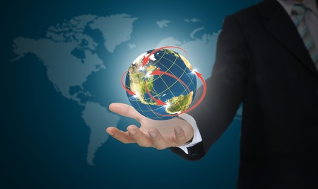 hand holding globe: Male Hand hold world network   Element of this image furnished by NASA