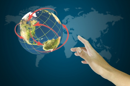 hand holding globe: Male Hand reach world network   Element of this image fu Stock Photo
