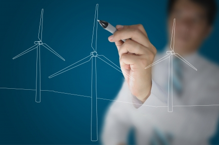 Hand of Business Man Draw Turbine Power Generator