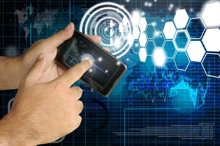 Hand of Business man touch smart phone with virtual digital network interface or environment Stock Photo - 15885218