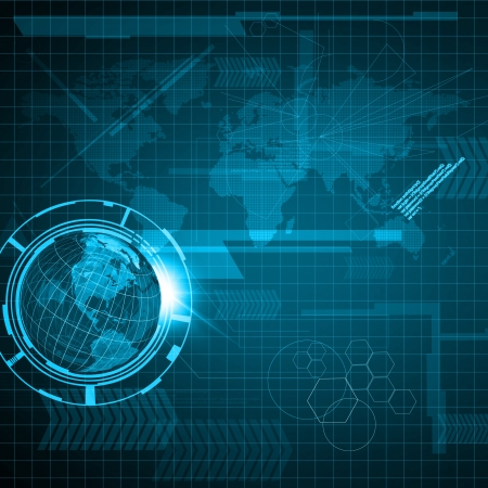 Background of Technology and Earth globe Standard-Bild