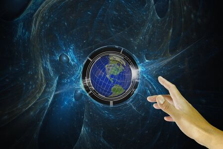 energy grid: Hand of Business man touch earth globe on virtual background