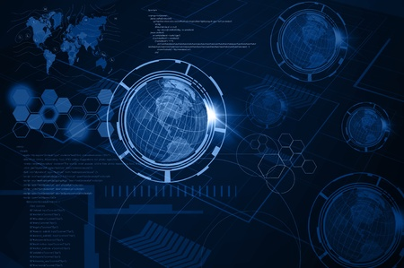 Background of Technology with earth globe Stock Photo - 15991001