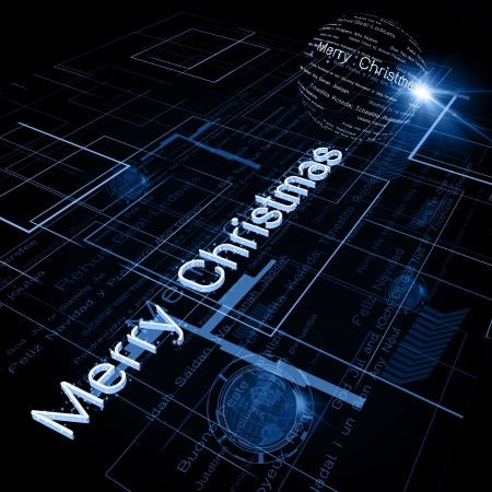 Christmas Greeting on Background of Technology with earth globe. Stock Photo - 15991185