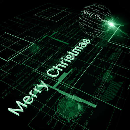 Christmas Greeting on Background of Technology with earth globe. Elements of this image furnished Stock Photo - 15991129