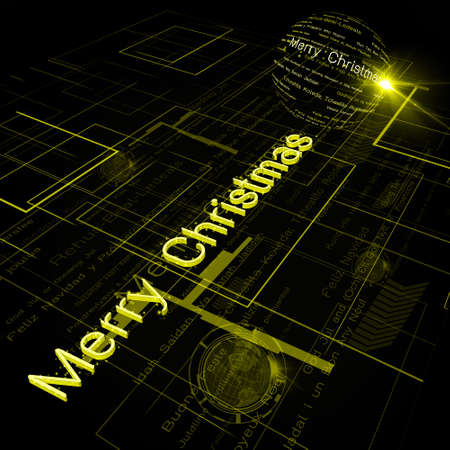 Christmas Greeting on Background of Technology with earth globe. Elements of this image furnished  Stock Photo - 15991134
