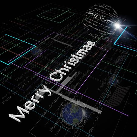 Christmas Greeting on Background of Technology with earth globe  Elements of this image furnished  Stock Photo - 16041603