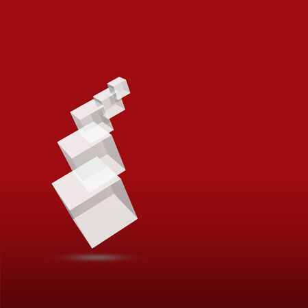 3D Glass Cube isolated on red Background with space photo