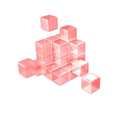 Abstract 3d illustration of red cube assembling from blocks illustration