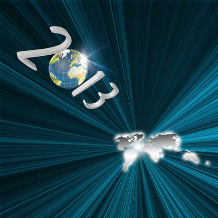 Year 2013 Flying to earth map as Futuristic concept Stock Photo - 16190015