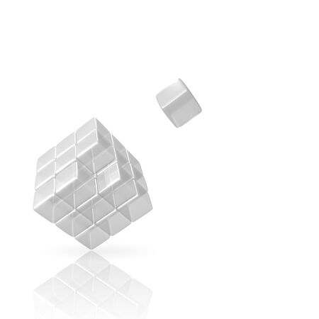 3D Glass Cube with missing piece on white Background photo