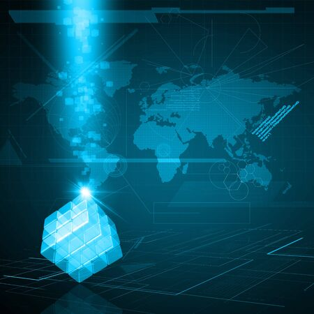 3d glass cube made of block on technology background photo