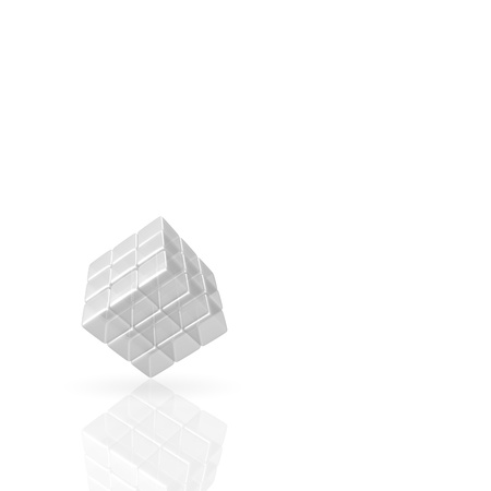 3D Glass Cube on white Background photo
