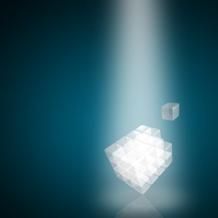 3d glass cube  made of block on blue background photo